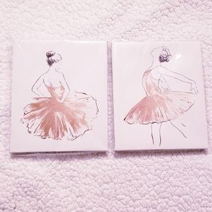2 Ballerina Canvas Decors. White and Gold. NWT.